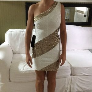 Bebe White And Gold Sequined Party Dress